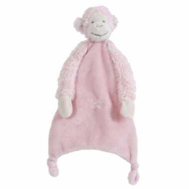 Apen tutteldoekje Happy Horse roze knuffeldoekje