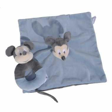 Blauwe disney rammelaar tuttel/knuffeldoekje mickey mouse