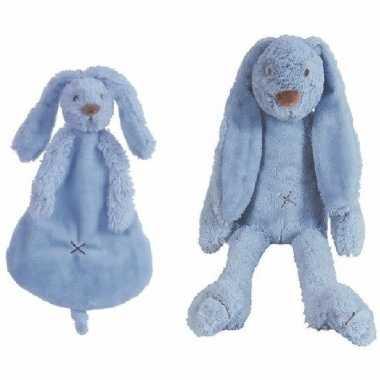Happy horse richie konijn donkerblauw knuffeldoekje knuffeldoekje