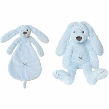 Happy horse richie konijn licht blauw knuffeldoekje knuffeldoekje