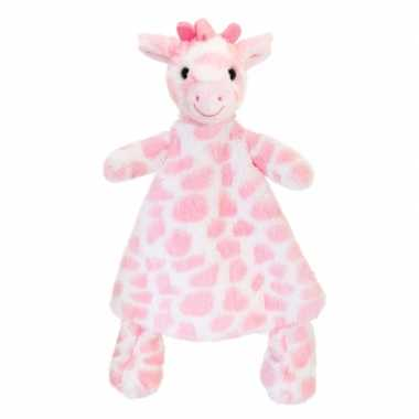 Keel toys pluche knuffeldoekje roze giraffe knuffeldoekje