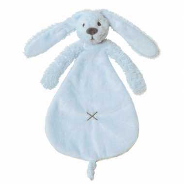 Knuffeldoekje tuttel konijn blauw