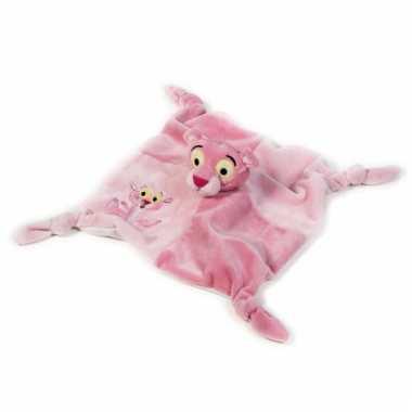 Kraamkado roze panter knuffeldoekje