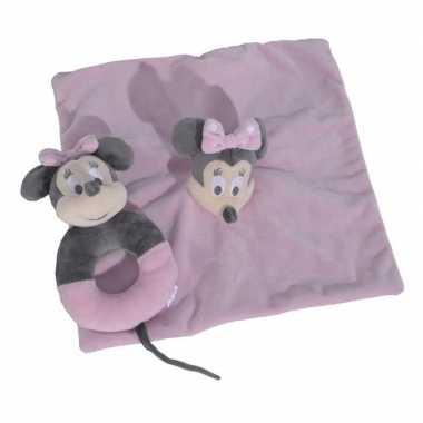 Roze disney rammelaar tuttel/knuffeldoekje minnie mouse